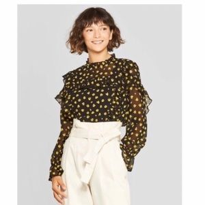 NWT Who What Wear Tulip Ruffle Blouse